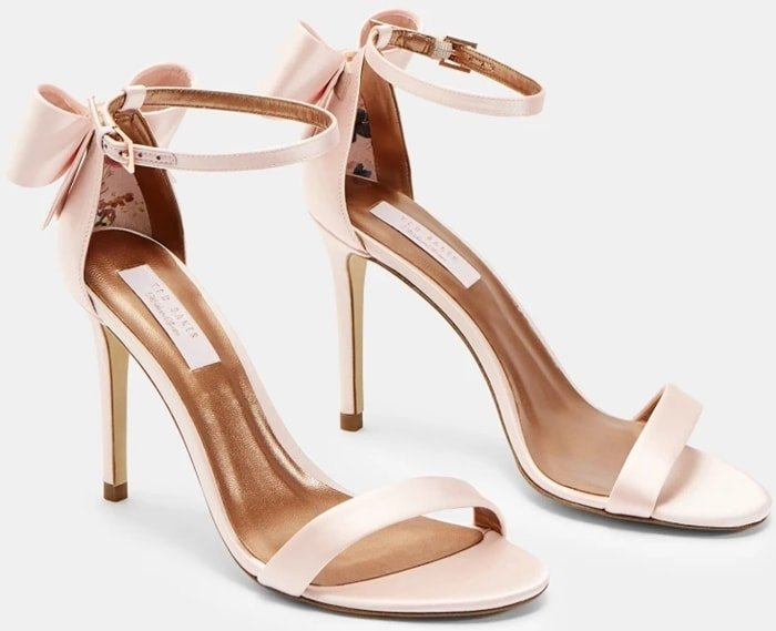Light Pink Bowtifl Bow Heeled Stiletto Sandals