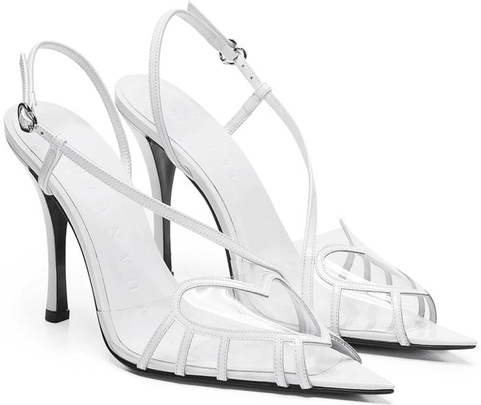 White Juan Vidal PVC Heart Slingback Sandals