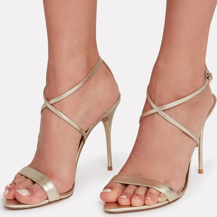 Gold Leather Smart Cocktail Stiletto Sandals