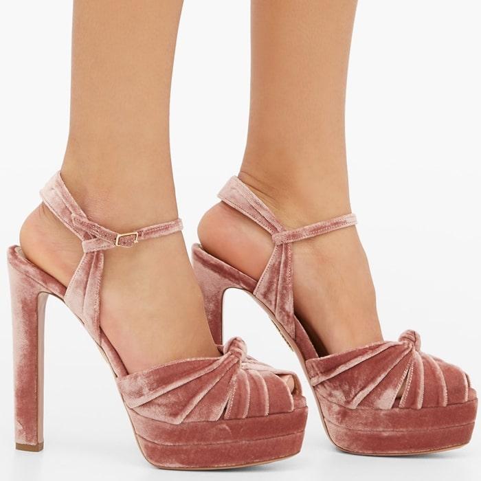 Revamped in dusty-pink velvet, these Evita sandals encapsulate Aquazzura's deeply feminine aesthetic