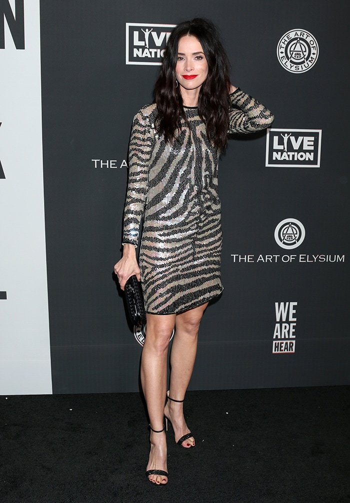 Abigail Spencer unleashes her wild side in zebra-striped Halston dress