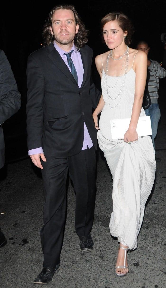 Actress Rose Byrne with her boyfriend Brendan Cowell leaving Katsuya restaurant