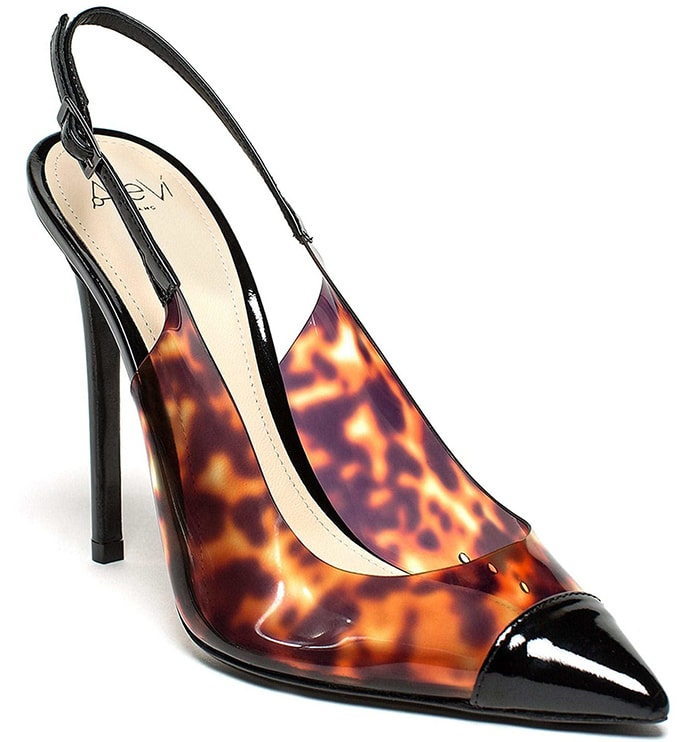 Sling-back pump is realized in patent leather and tortoiseshell plexy