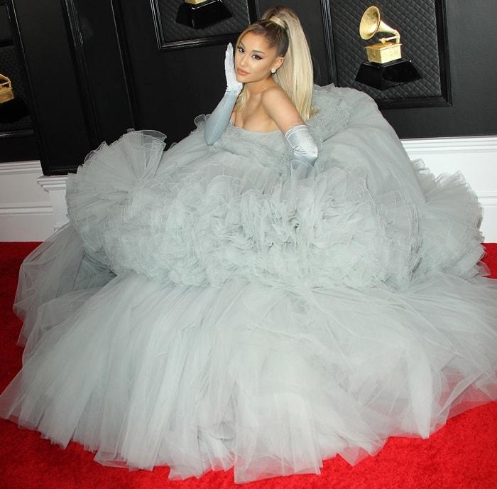 Ariana Grande wearing a custom Giambattista Valli dress