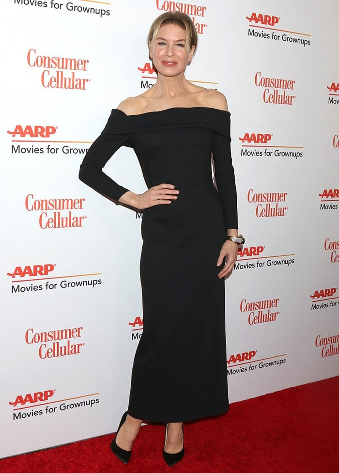 Renee Zellweger showcases her slender figure in Louis Vuitton dress at the AARP Movies for Grownups Awards on January 11, 2020