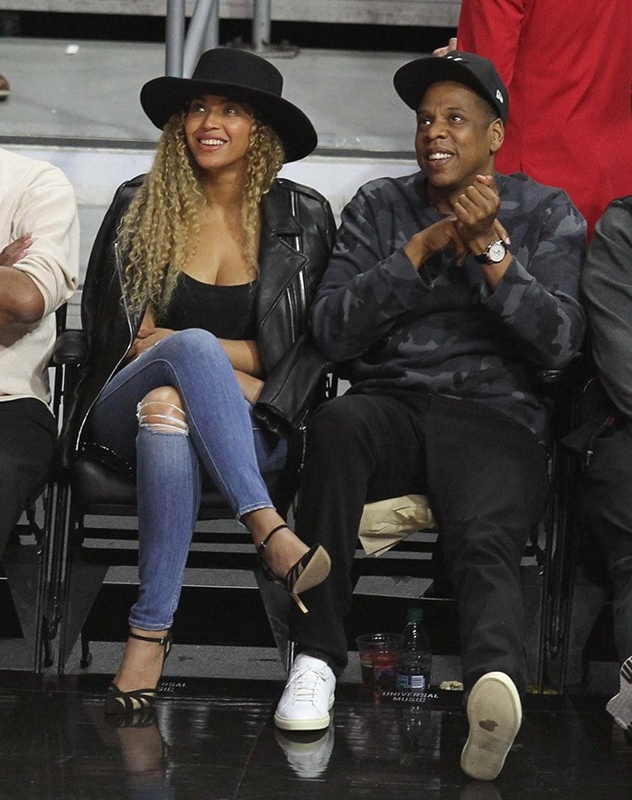 Beyonce and Jay-Z at the Los Angeles Clippers game on March 2, 2016