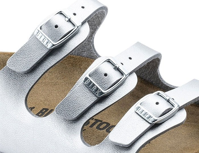 """The Birkenstock 'Florida' sandals have three small buckles that show the """"BIRK"""" logo"""