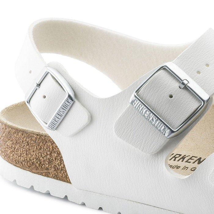 "Sandals with large buckles have ""BIRKENSTOCK"" debossed logo"