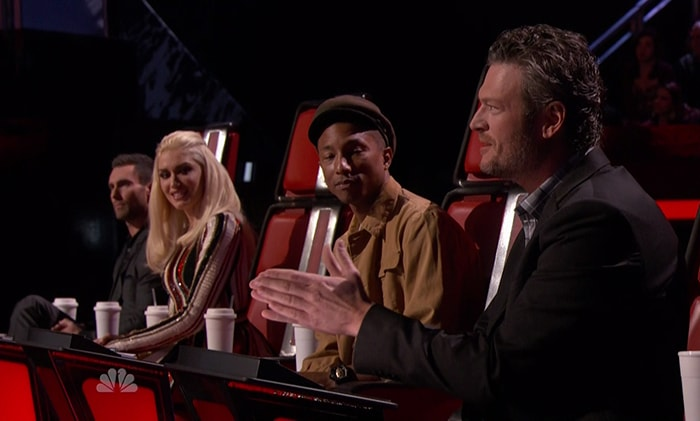Gwen Stefani and Blake Shelton during NBC's The Voice aired November 11, 2015