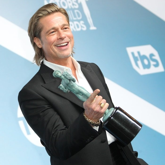 Brad Pitt was all smiles after accepting his award at the 2020 Screen Actors Guild Awards