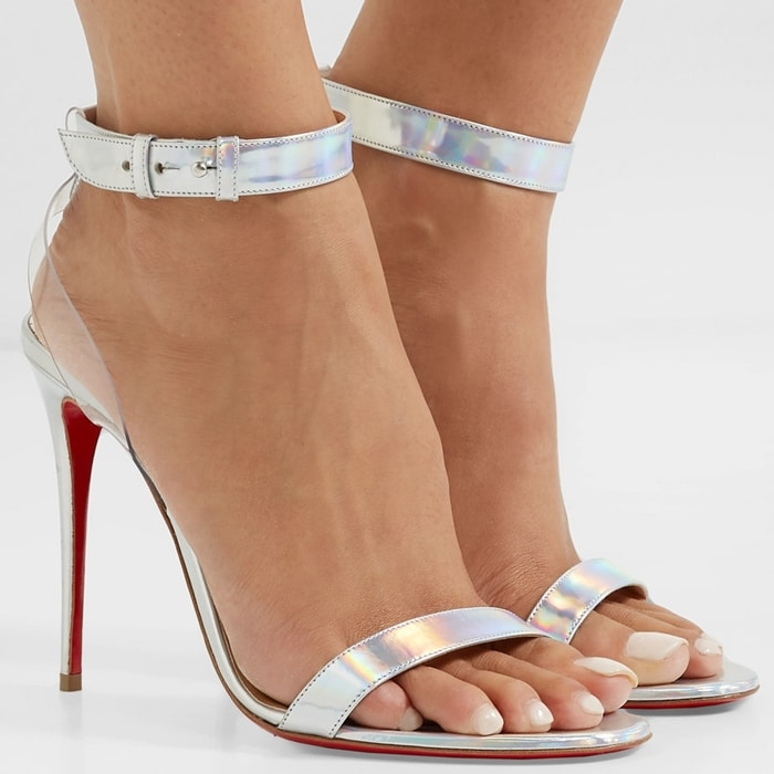 Sandal cut from iridescent silver leather trimmed with transparent PVC