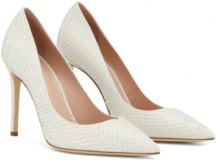 These pumps are crafted from white reptile-print leather with transparent vinyl engraving