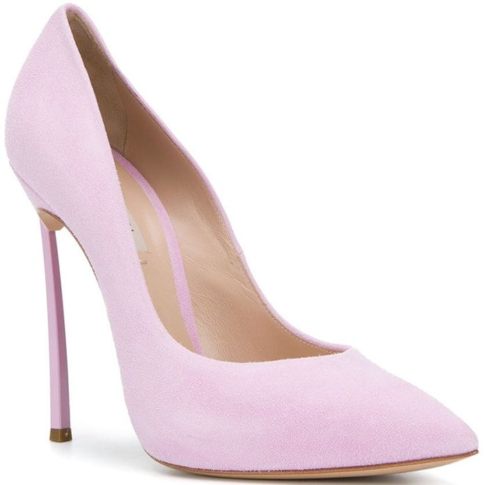 Pink suede Flamingo pumps from Casadei featuring a high stiletto heel, a slip-on style, a pointed toe and a leather lining