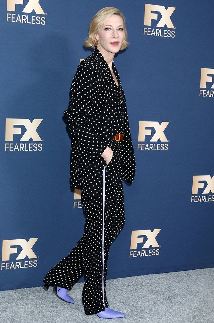 Cate Blanchett wears a black and white polka-dot pantsuit