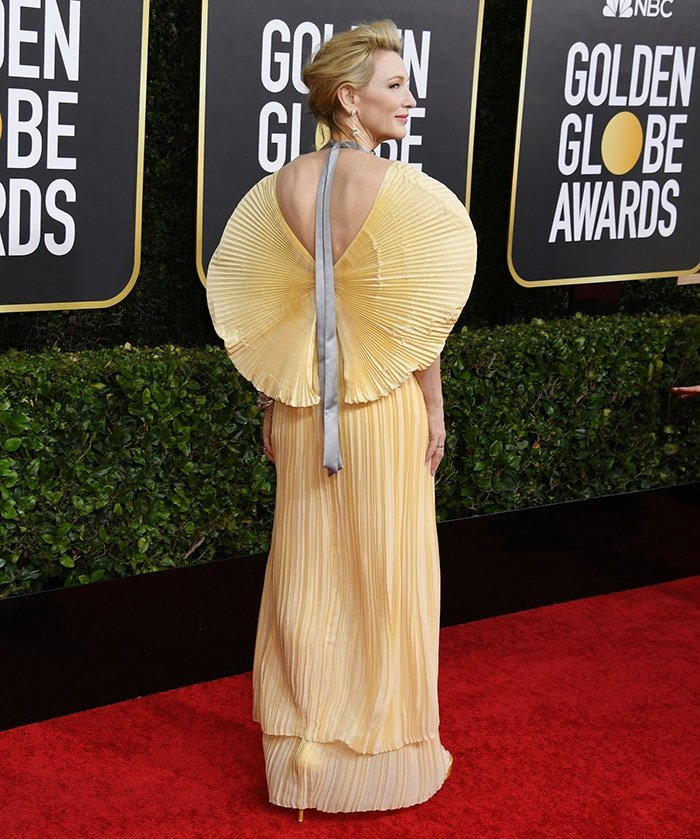 Cate Blanchett is a goddess in a yellow Mary Katrantzou 'Justice' gown