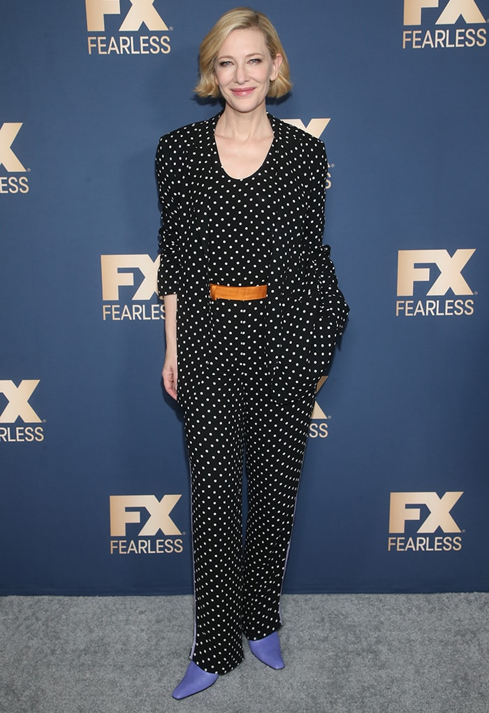 Cate Blanchett at FX's Winter TCA Tour 2020 to discuss her upcoming miniseries Mrs. America