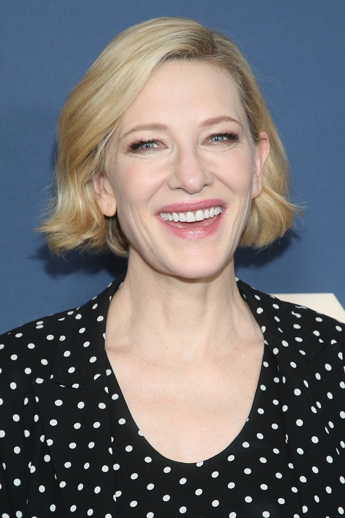 Cate Blanchett wears soft makeup with a wavy bob