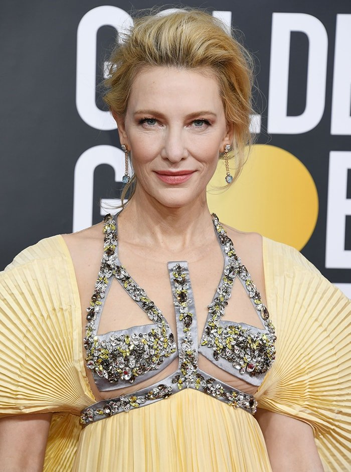 Cate Blanchett wears teased pull back hairstyle with Armani Beauty makeup