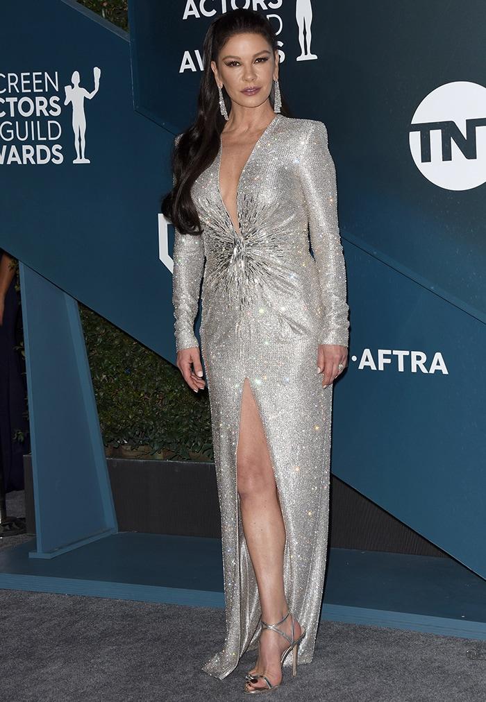 Catherine Zeta-Jones dazzles in Swarovski-embellished Julien Macdonald gown