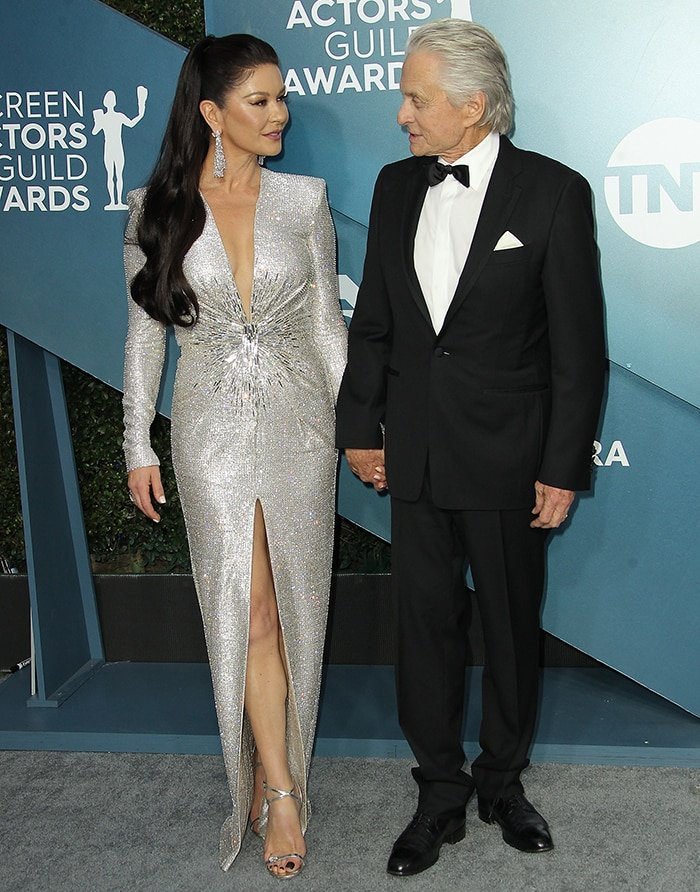 Catherine Zeta-Jones and Michael Douglas at the 26th Screen Actors Guild Awards on January 19, 2020