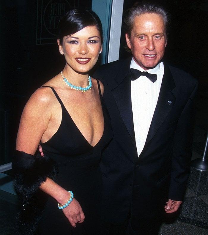 Catherine Zeta-Jones and Michael Douglas at the amfAR Seasons of Hope gala in New York City on November 30, 1999
