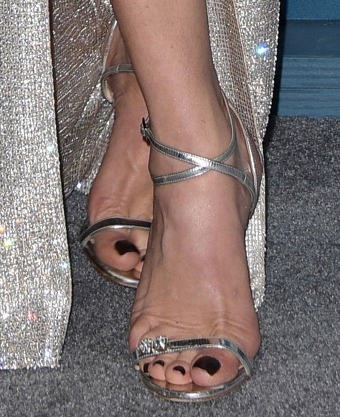 Catherine Zeta-Jones shows off her sexy feet in Giuseppe Zanotti sandals