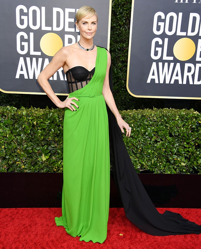 Charlize Theron in Dior gown at the 2020 Golden Globe Awards on January 5, 2020