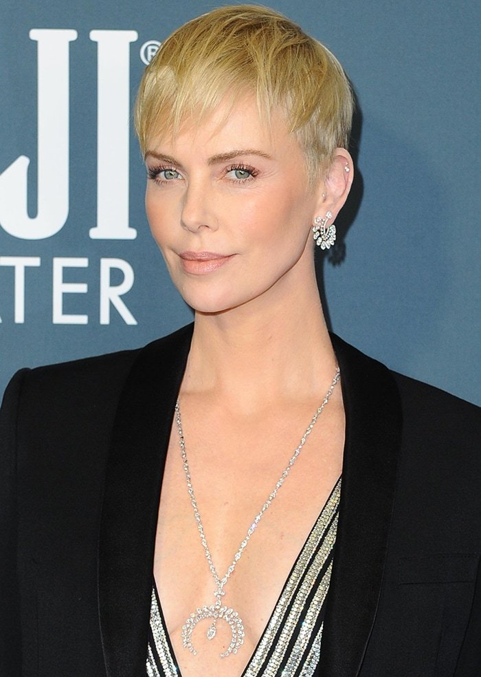 Charlize Theron wears sleek pixie and soft makeup