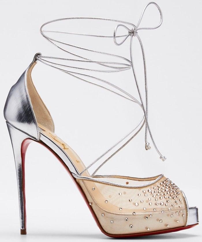 Christian Louboutin Maia Labella Alta sandal in crystal-studded mesh and metallic calf leather