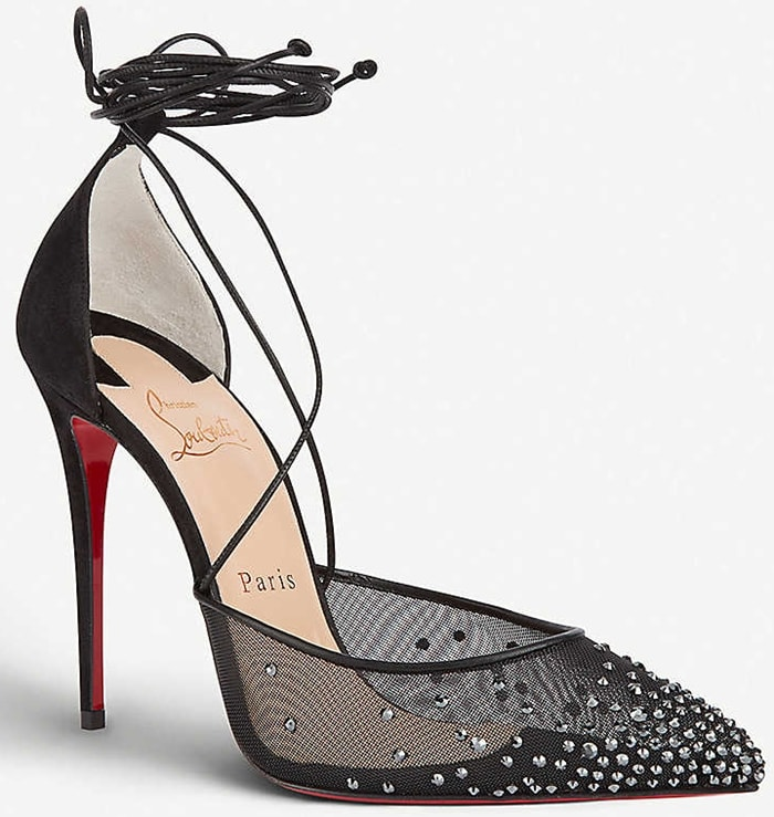 Maia Labella pumps shaped from sheer fishnet and scattered with sparkling rhinestones