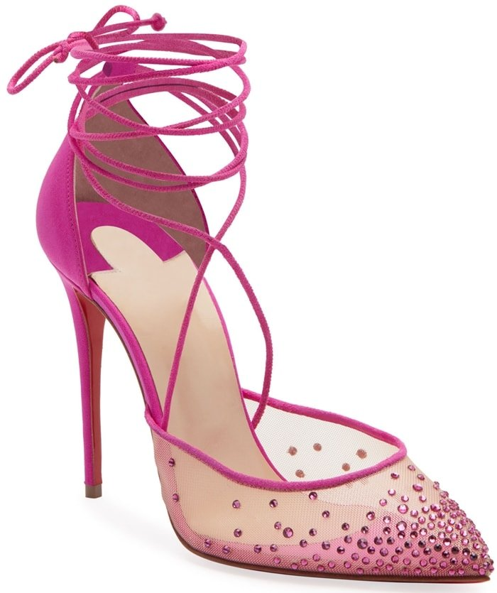 Christian Louboutin suede pumps with mesh and crystal-embellished trim