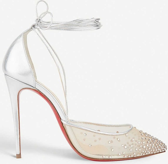 Silver Maia Labella pumps shaped from sheer fishnet and scattered with sparkling rhinestones