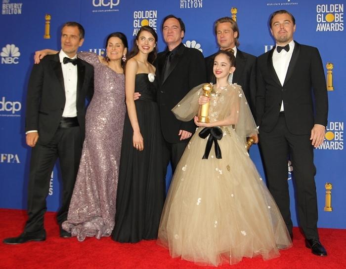 David Heyman, Shannon McIntosh, Margaret Qualley, Quentin Tarantino, Brad Pitt, Julia Butters, and Leonardo DiCaprio at the 2020 Golden Globe Awards