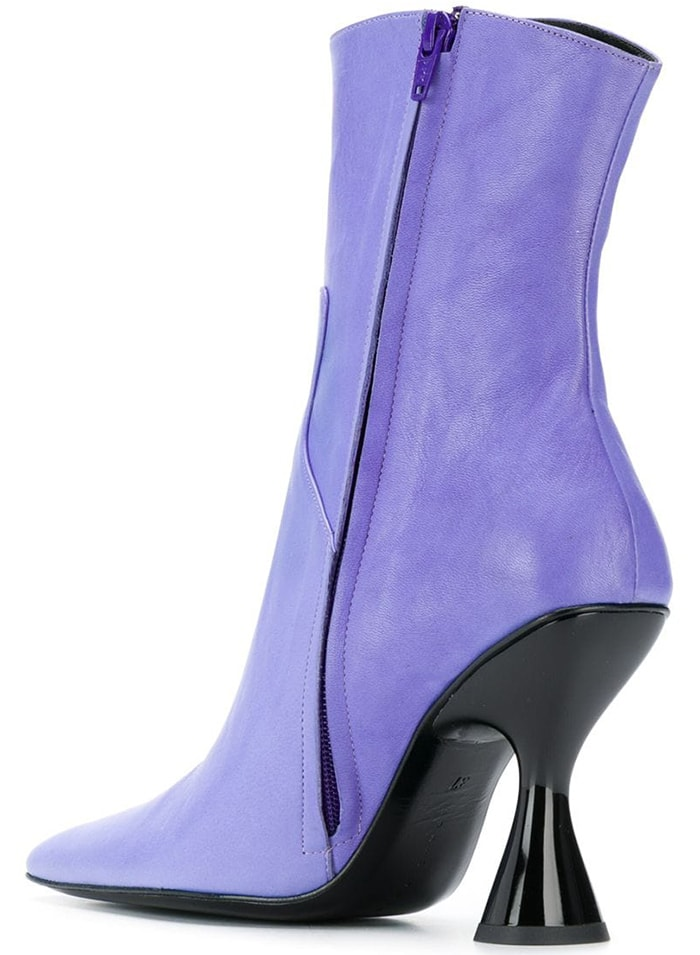 Lilac leather pointed toe ankle boots featuring a side zip fastening, a stitch detail, and a mid-heel