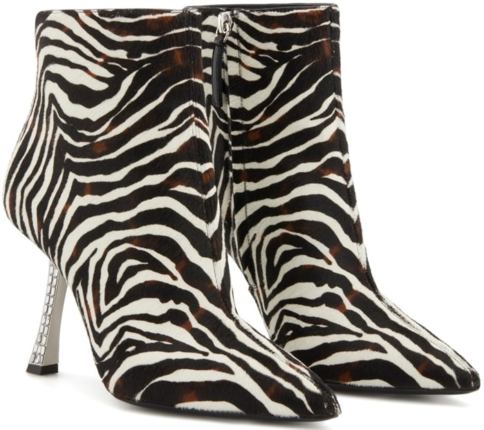 Brown and white pony hair leather Farrah Fancy ankle boots from Giuseppe Zanotti featuring an animal pattern, a pointed toe, a side zip fastening, a tapered mid heel, crystal embellishments and a leather sole