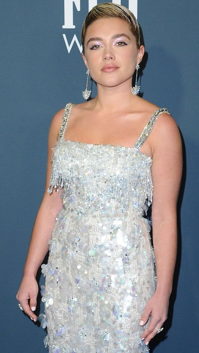 Florence Pugh glittered in a sequin and rhinestone dress from Prada