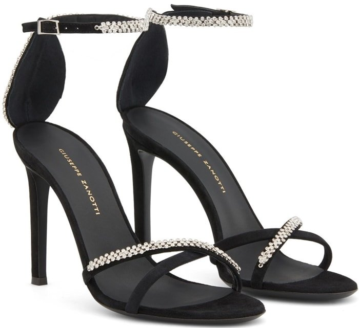Black suede Miria rhinestone-embellished sandals featuring crossover straps to the front, an ankle strap with a side buckle fastening, a branded insole, a high stiletto heel and a leather sole