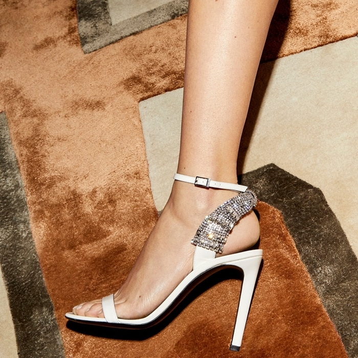 White Jamila 105mm Embellished Sandals