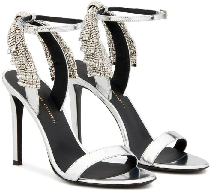 Silver-tone leather Jamila 105mm embellished sandals from Giuseppe Zanotti
