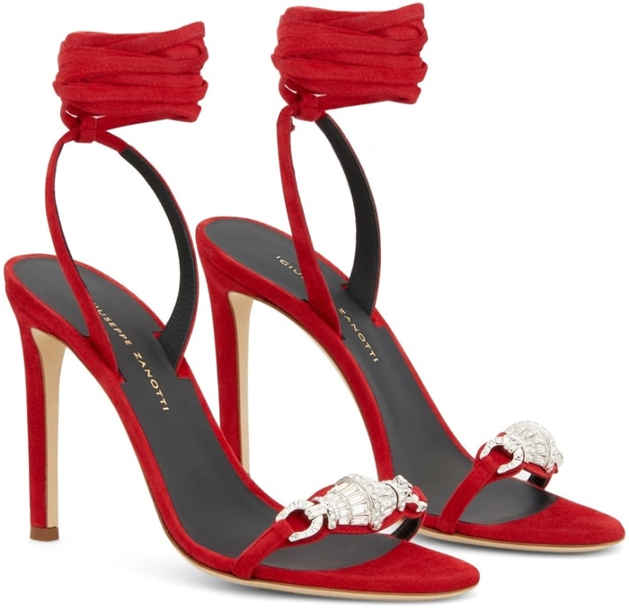Red leather and suede Thais 105mm ankle-wrap sandals from Giuseppe Zanotti featuring an almond toe, a toe strap, crystal embellishments, a branded insole, an ankle strap and a high stiletto heel.