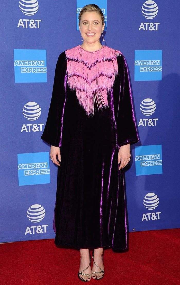 Greta Gerwig in a bead fringed velvet Gucci dress
