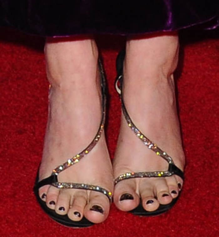 Greta Gerwig adds sparkle to her look with Jimmy Choo sandals