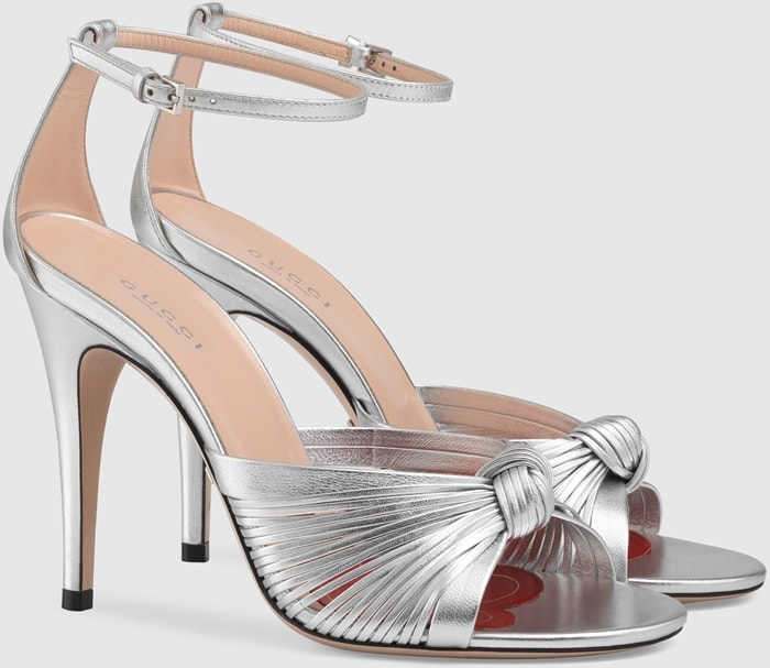Metallic Leather Knotted Sandals