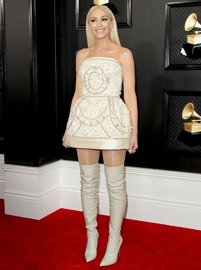 Gwen Stefani shows a sweeter look in custom Dolce & Gabbana shell-encrusted mini dress