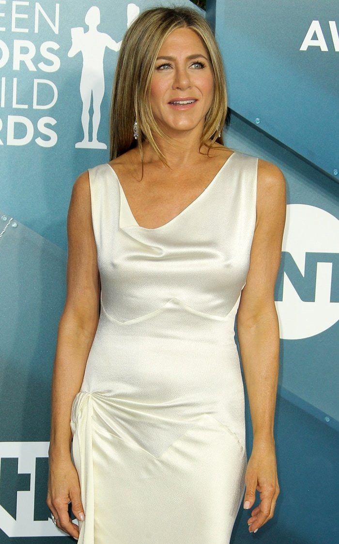 Jennifer Aniston went braless in a vintage John Galliano for Christian Dior dress