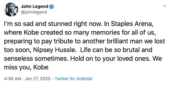 John Legend expresses his sadness over Kobe Bryant's death on Sunday