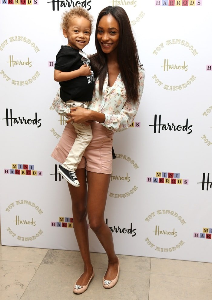 Jourdan Dunn and her son Riley attend the Harrods Toy Kingdom VIP launch party in London
