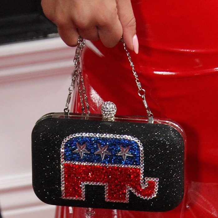Joy Villa's black clutch bedazzled with the Republican Party's elephant