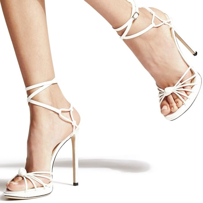 Crafted in Italy from latte mini lizard print leather, these LOVELLA/PF 120 sandals epitomise glamour
