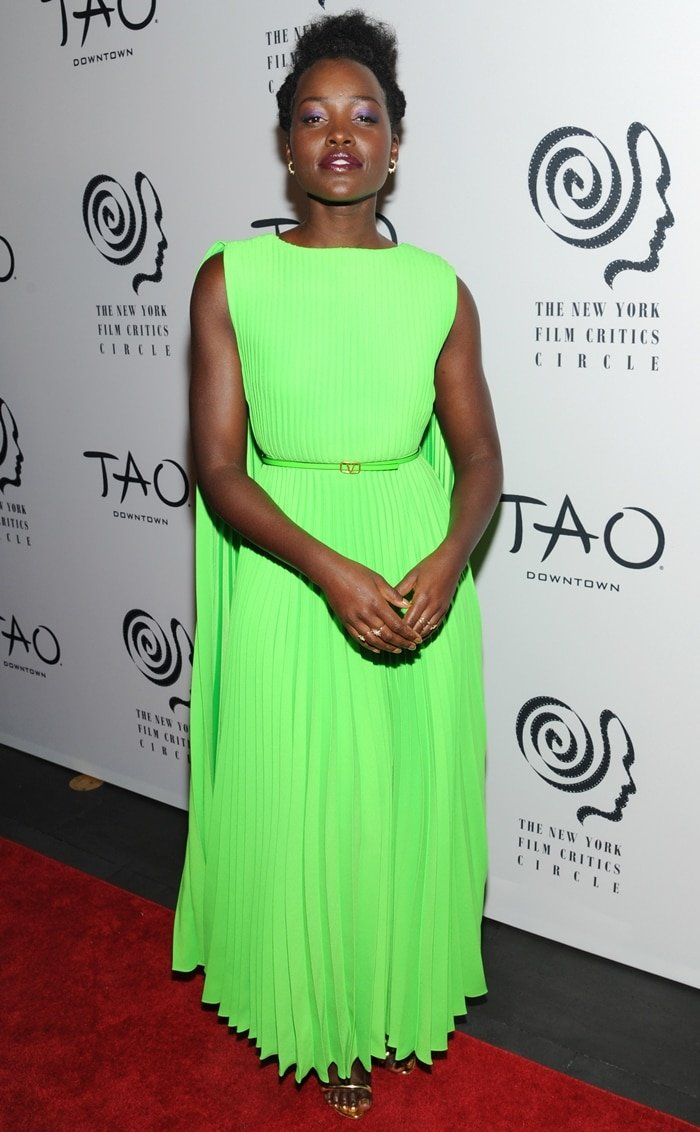 Lupita Nyong'o looked fabulous in neon green at the 2019 New York Film Critics Circle Awards